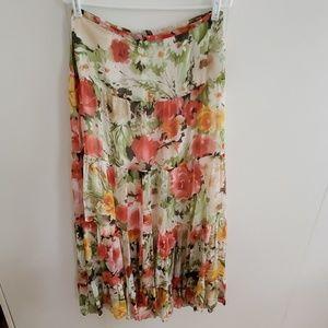 Jones New York Flowy Silk Flower Print Maxi Skirt